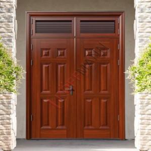 Cửa cổng chính chất liệu thép vân gỗ DH Group 25.4