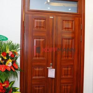 Cửa cổng chính chất liệu thép vân gỗ DH Group 23.4