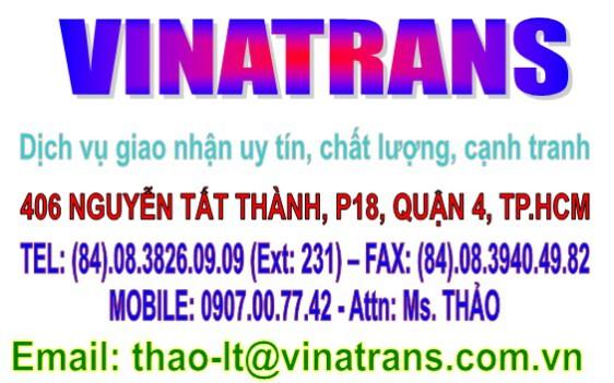 VINATRANS Logistics giao nhận, xuất nhập khẩu hàng hóa / 0907.007742 Ms. Thảo
