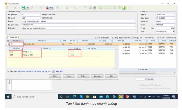 Phần mềm kế toán tìm kiếm danh mục nhanh chóng SThink Accounting.