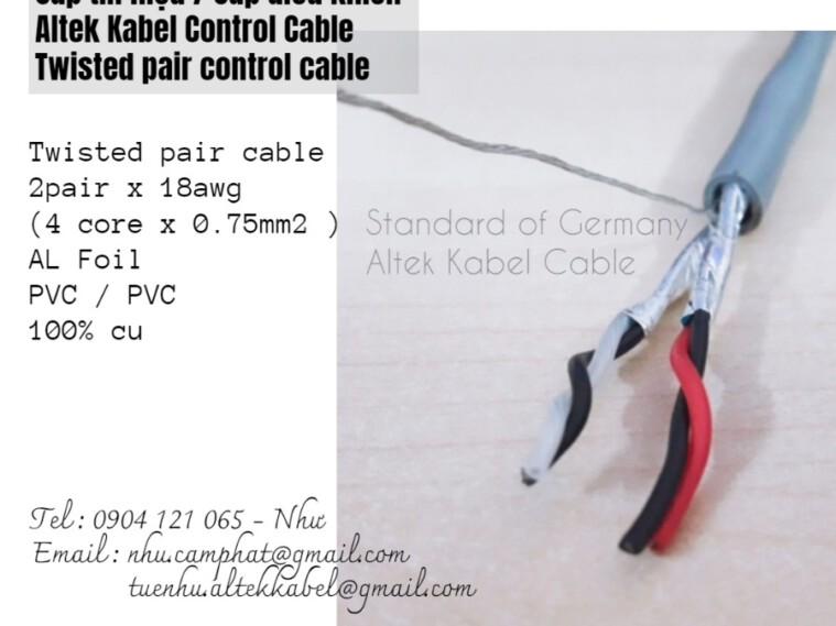 Cáp tín hiệu vặn xoắn (AWG) Altek Kabel 2pr 18awg